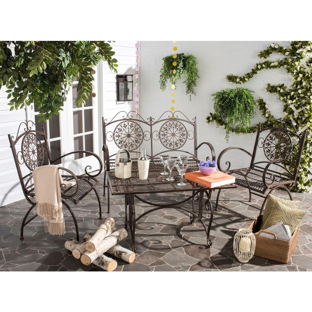 Safavieh Sophie Rustic Brown 4 Piece Iron Patio Conversation Set Throughout Famous Iron Patio Conversation Sets (View 17 of 20)