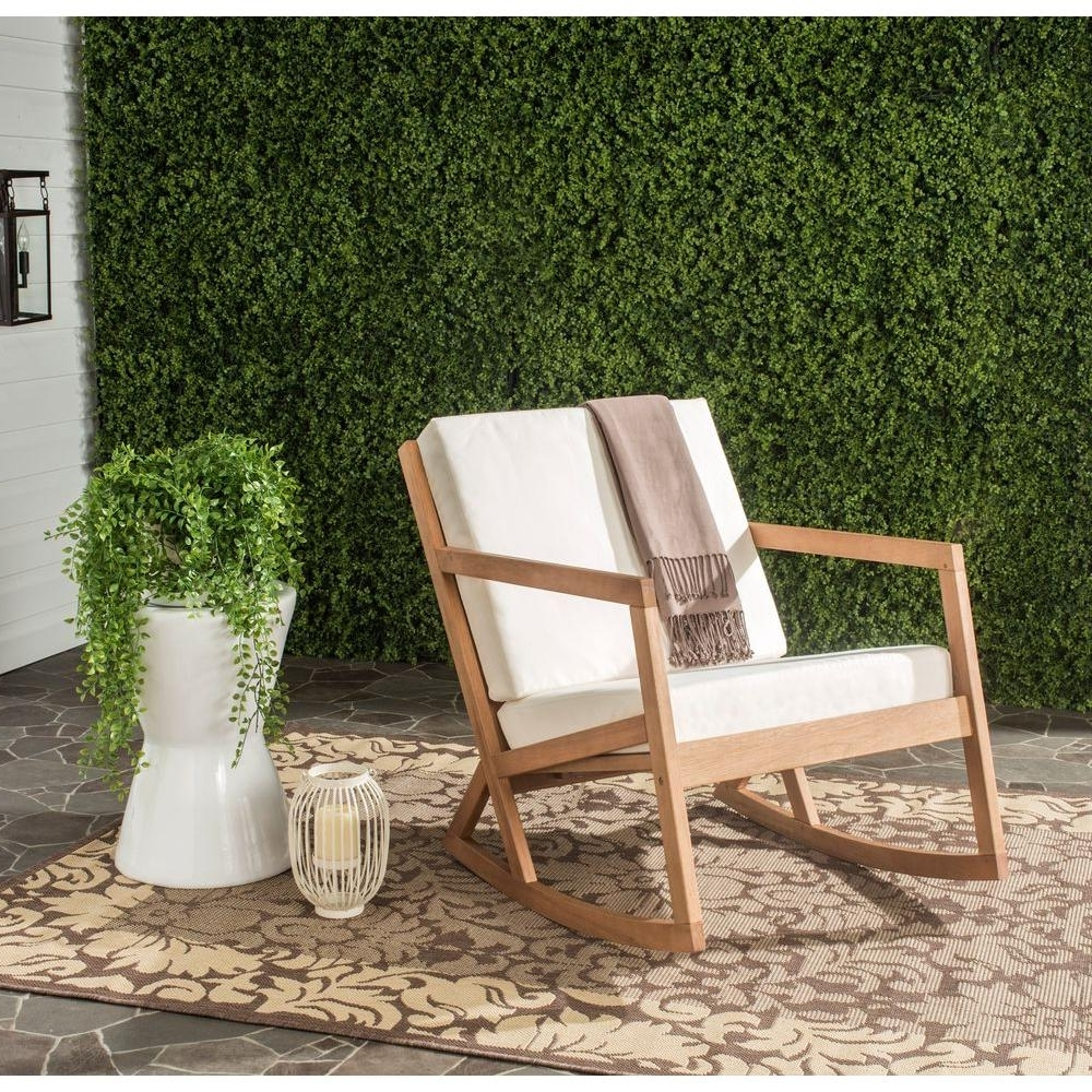 Safavieh Vernon Teak Brown Outdoor Patio Rocking Chair With Beige Intended For Trendy Outdoor Rocking Chairs With Cushions (View 5 of 20)