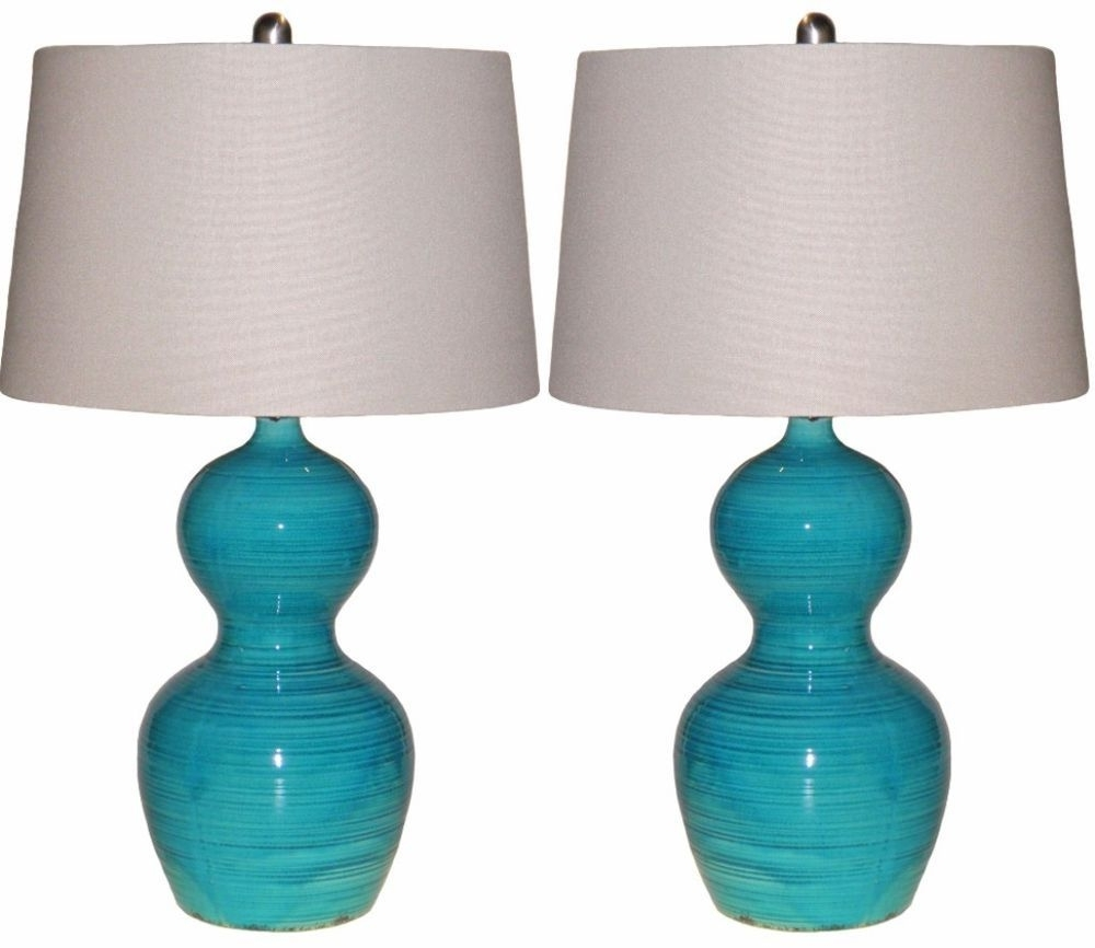 Set Of 2 Blue Glazed Ceramic Table Lamps Distressed Teal Living Room For Well Known Teal Living Room Table Lamps (View 11 of 20)