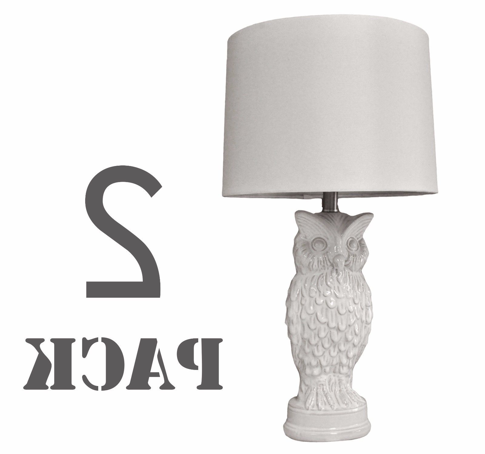 """Set Of 2 Living Room Table Lamps Intended For Well Liked Set Of 2 White Owl Ceramic Table Lamp For Bedroom Living Room – 27""""h (View 15 of 20)"""