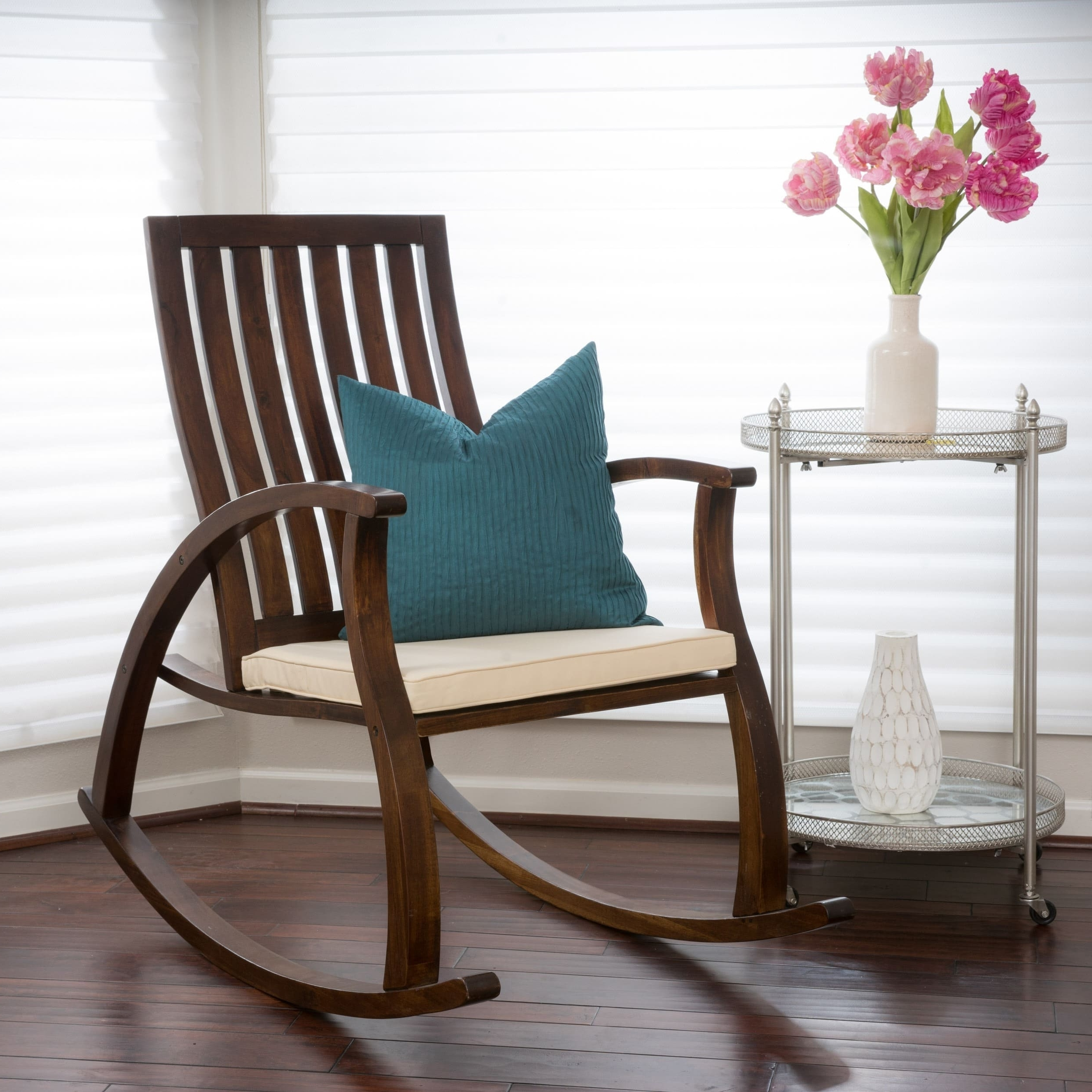 Shop Abraham Brown Mahogany Wood Rocking Chair W/ Cushion Inside Current Rocking Chairs With Lumbar Support (View 17 of 20)
