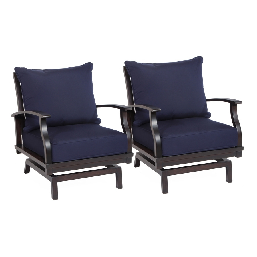 Shop Allen + Roth Gatewood Gatewood Set Of 2 Brown Aluminum Patio For Fashionable Aluminum Patio Rocking Chairs (View 15 of 20)