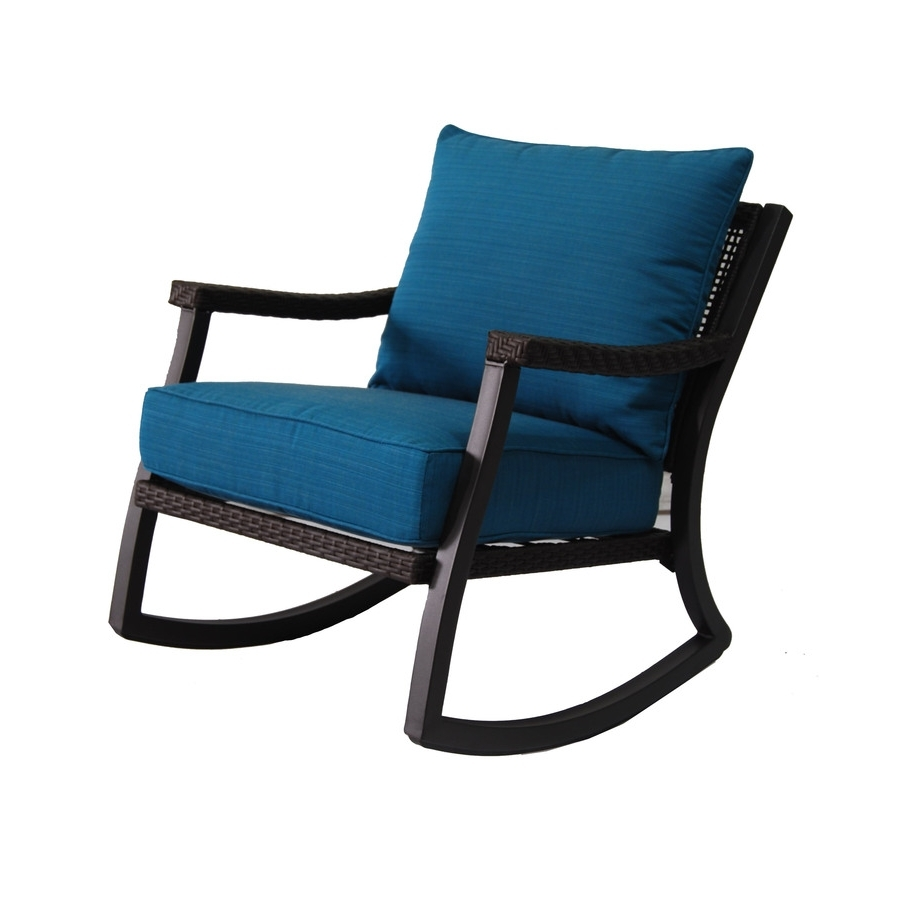 Shop Allen + Roth Netley Brown Wicker Rocking Patio Conversation With 2018 Brown Patio Rocking Chairs (View 18 of 20)