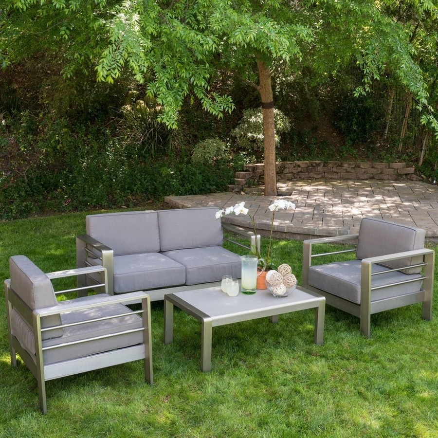 Shop Best Selling Home Decor Mililani 4 Piece Aluminum Frame Patio With Well Liked Grey Patio Conversation Sets (View 3 of 20)