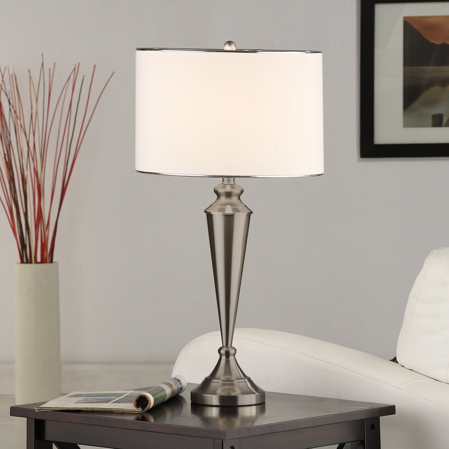 Shop Brushed Nickel Contemporary Table Lamp (set Of 2) – Free Pertaining To Best And Newest Overstock Living Room Table Lamps (View 7 of 20)