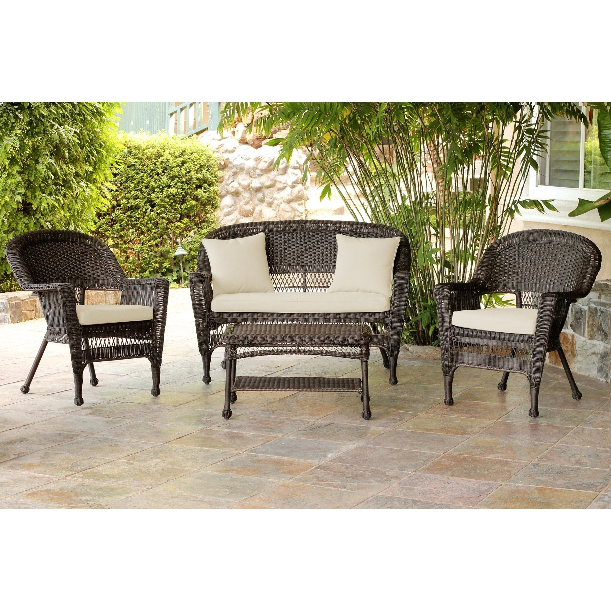 Shop Espresso Wicker 4 Piece Patio Conversation Set – Free Shipping Throughout Most Recently Released Black Patio Conversation Sets (View 19 of 20)