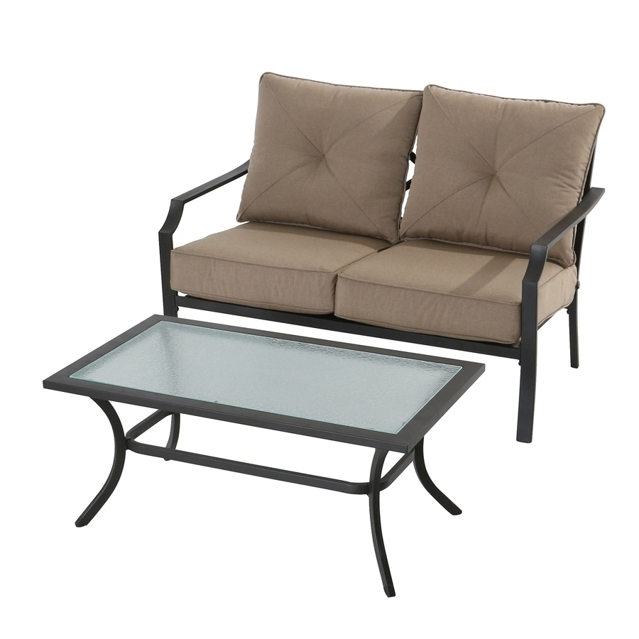 Shop Garden Treasures Vinehaven 2 Piece Steel Frame Patio Intended For Fashionable Garden Treasures Patio Conversation Sets (View 17 of 20)