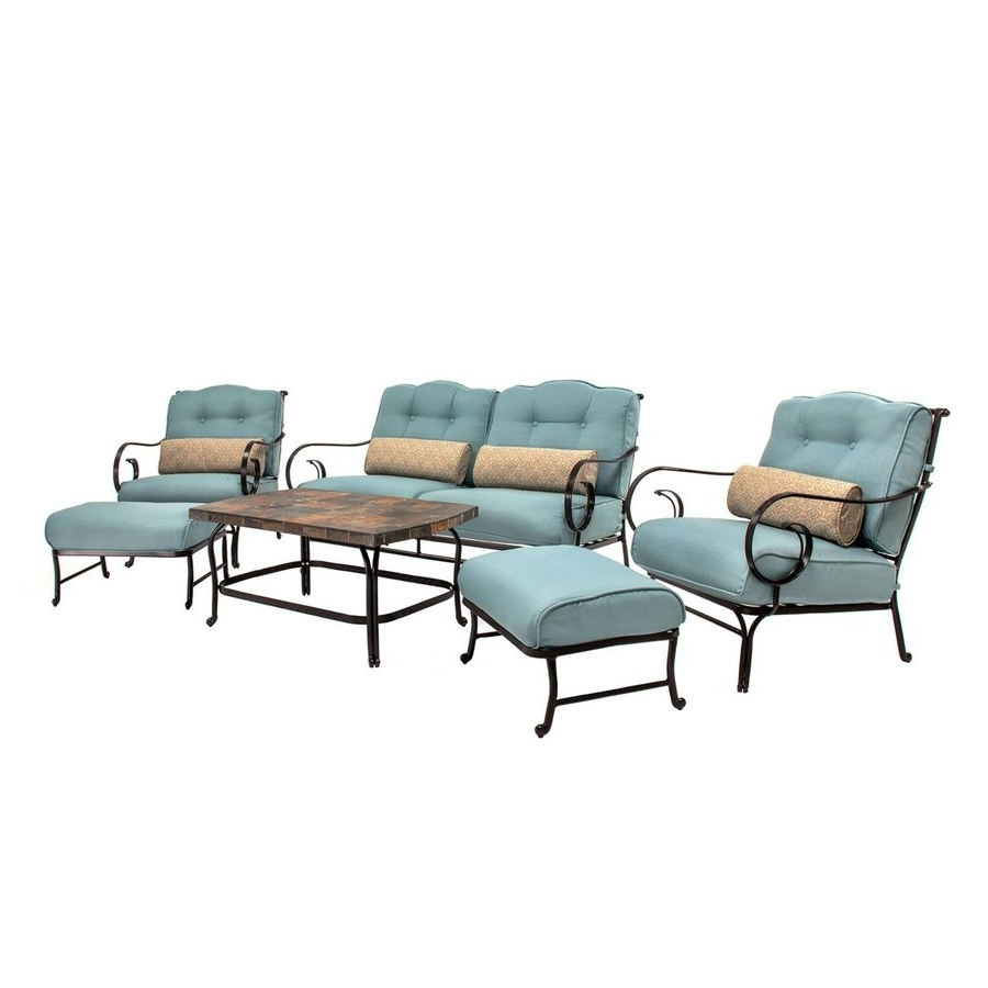Shop Hanover Outdoor Furniture Oceana 6 Piece Steel Frame Patio With Regard To Well Known Steel Patio Conversation Sets (View 3 of 20)