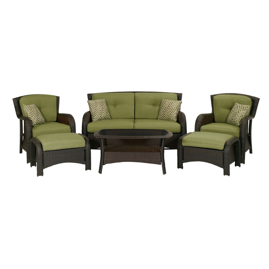 Shop Hanover Outdoor Furniture Strathmere 6 Piece Wicker Frame Patio In Popular Patio Conversation Sets Without Cushions (View 16 of 20)