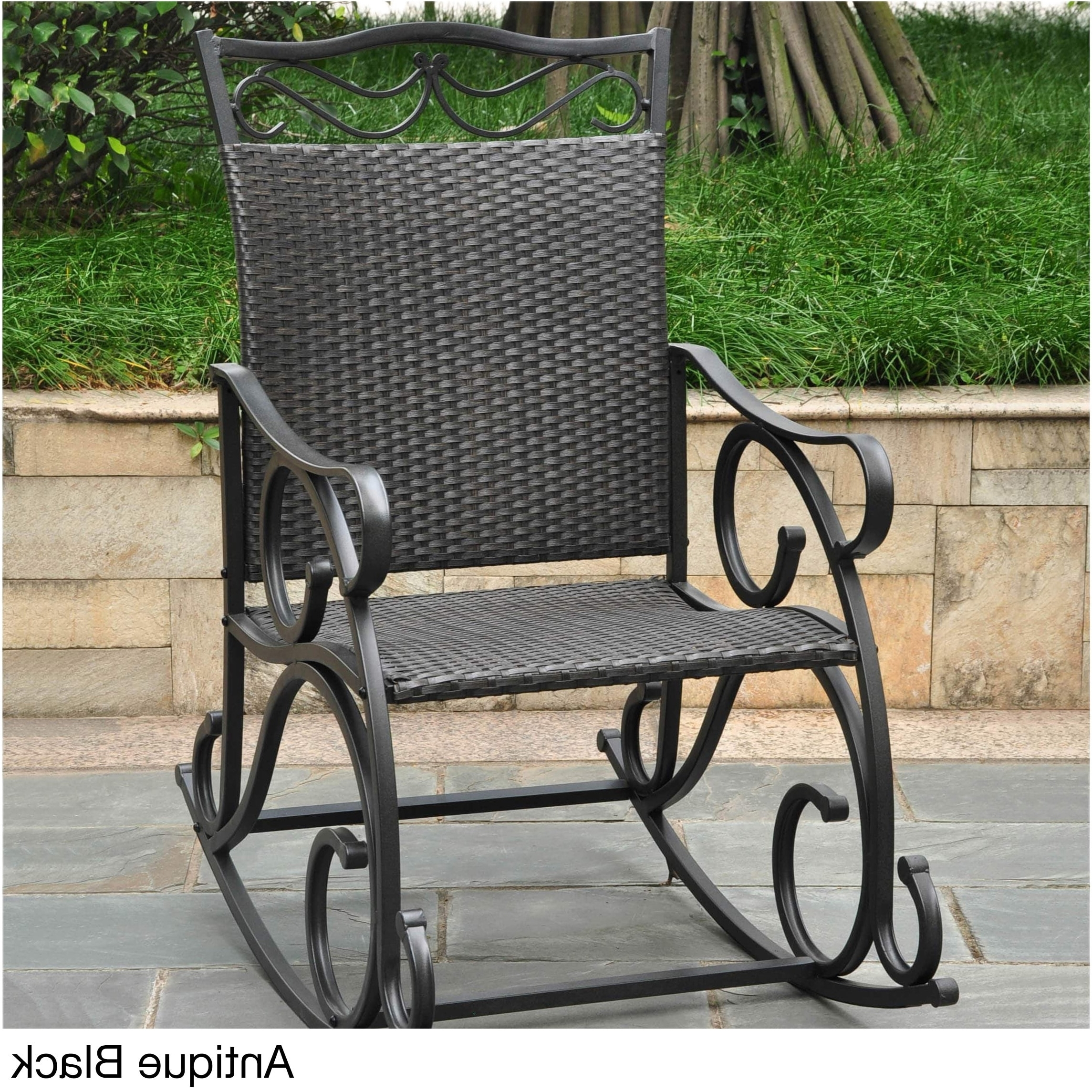 Shop International Caravan Valencia Resin Wicker/ Steel Frame Within Best And Newest Resin Patio Rocking Chairs (View 18 of 20)