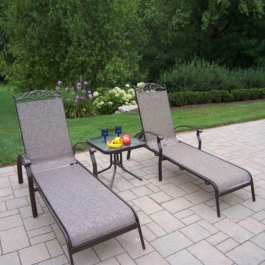 Shop Oakland Living Cascade Sling 3 Piece Plastic Frame Patio Intended For Best And Newest Sling Patio Conversation Sets (View 13 of 20)