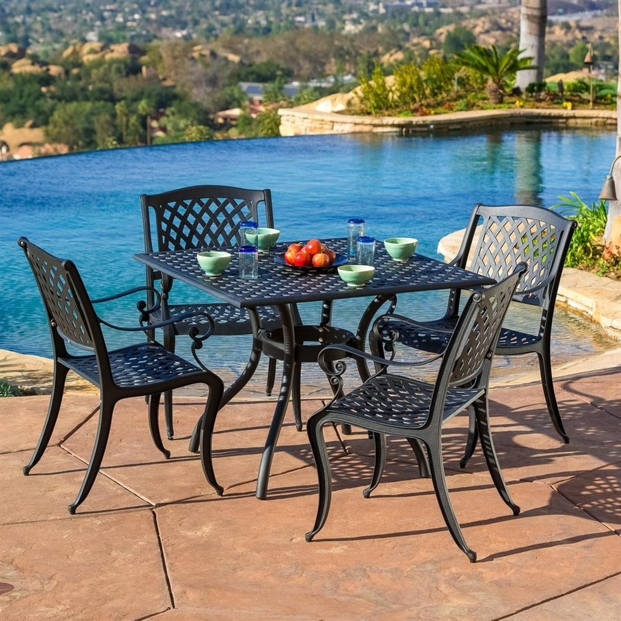 Shop Patio Dining Sets At Lowes Within Best And Newest Black Aluminum Patio Conversation Sets (View 16 of 20)