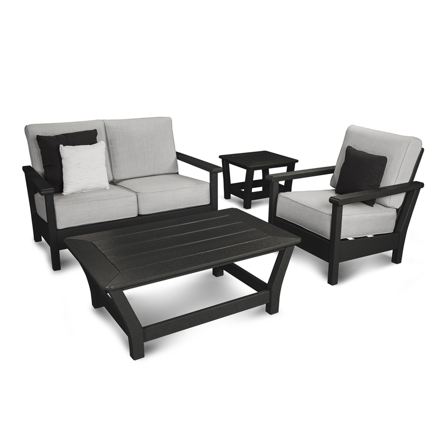 Shop Polywood Harbour 4 Piece Plastic Frame Patio Conversation Set Within Most Up To Date Black Patio Conversation Sets (View 20 of 20)