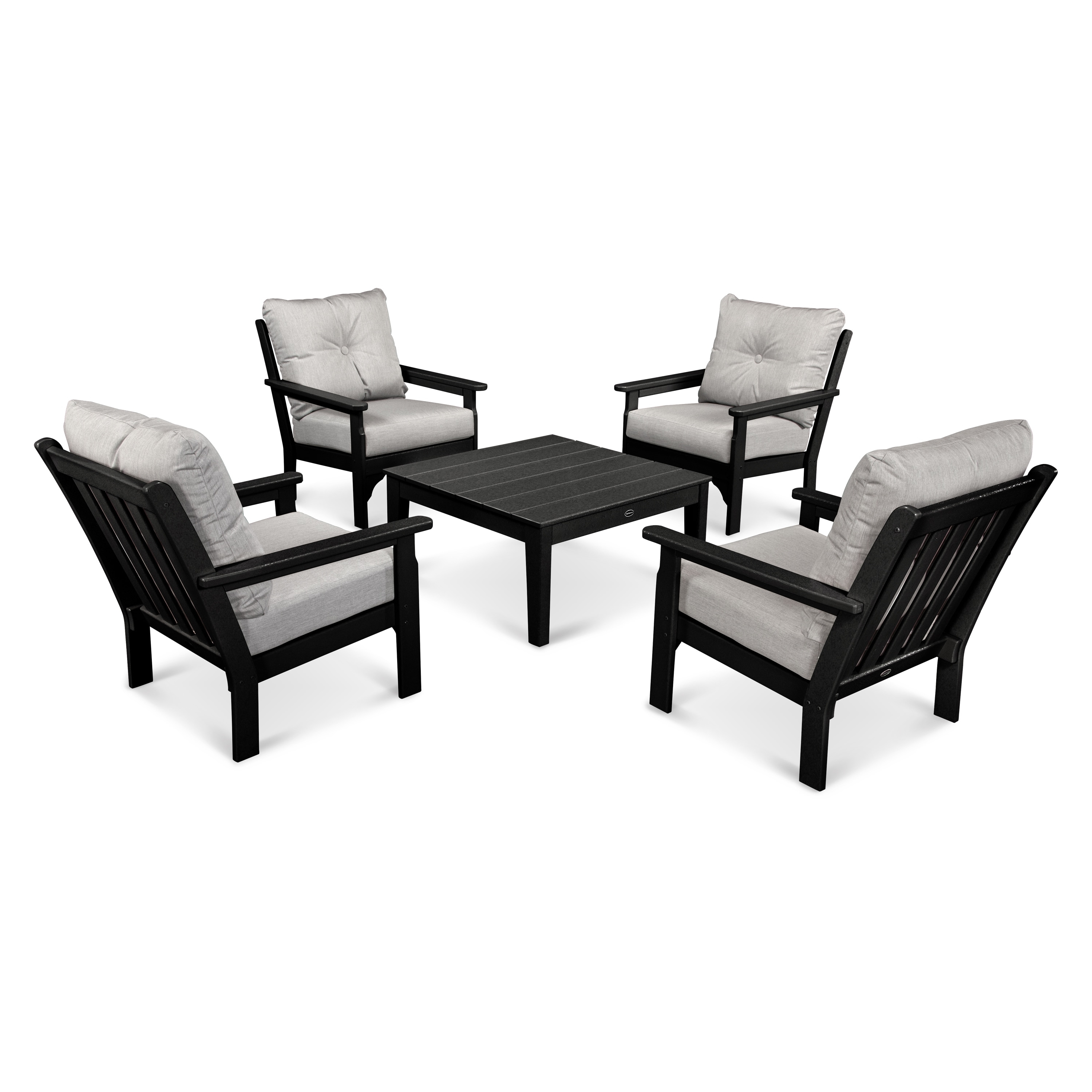 Shop Polywood Vineyard Outdoor Cushioned 5 Piece Conversation Set Within Popular Dot Patio Conversation Sets (View 16 of 20)
