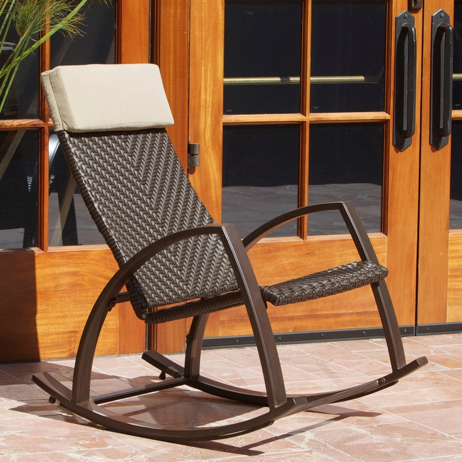 Shop Rst Outdoor Espresso Aluminum Woven Seat Outdoor Rocking Chair Intended For 2019 Aluminum Patio Rocking Chairs (View 16 of 20)