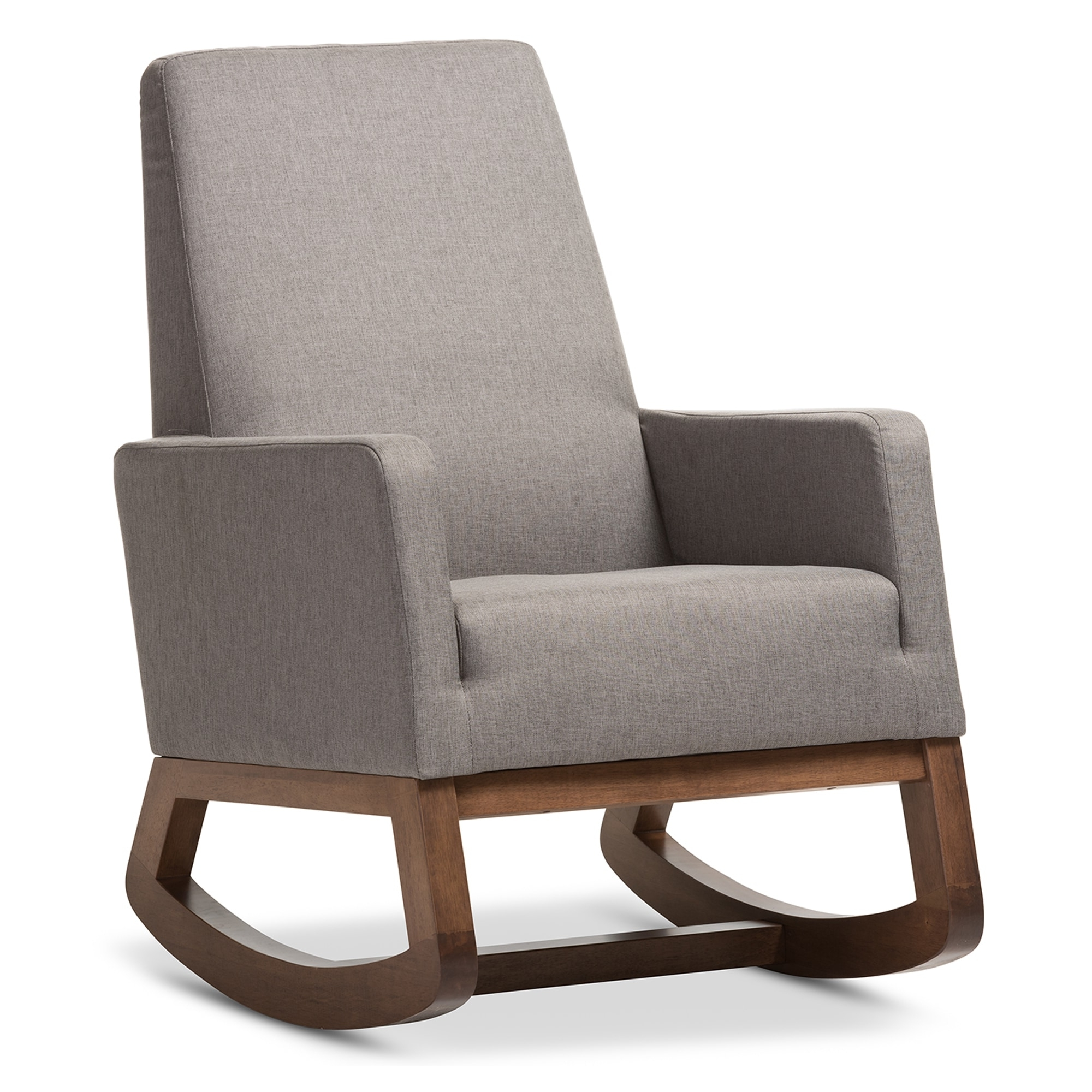 Shop Strick & Bolton Coleman Mid Century Modern Grey Upholstered With 2018 Rocking Chairs With Ottoman (View 18 of 20)