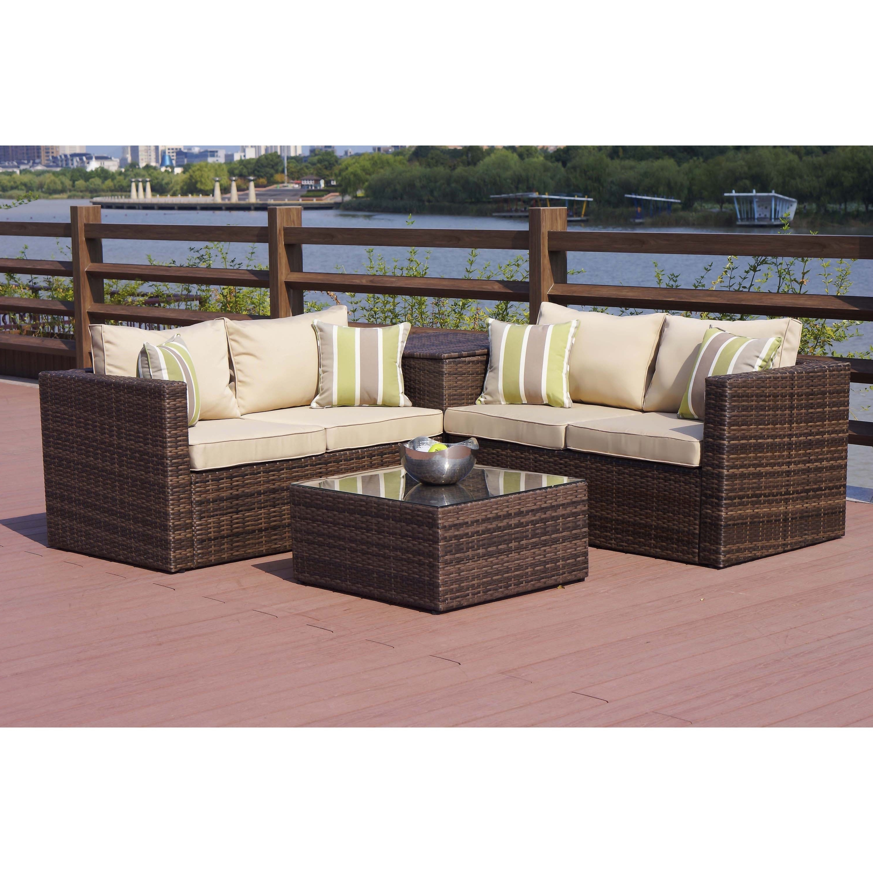 Shop Zoe Outdoor 4 Piece Conversation Set With Storage Box – On Sale Inside Most Current Patio Conversation Set With Storage (View 15 of 20)