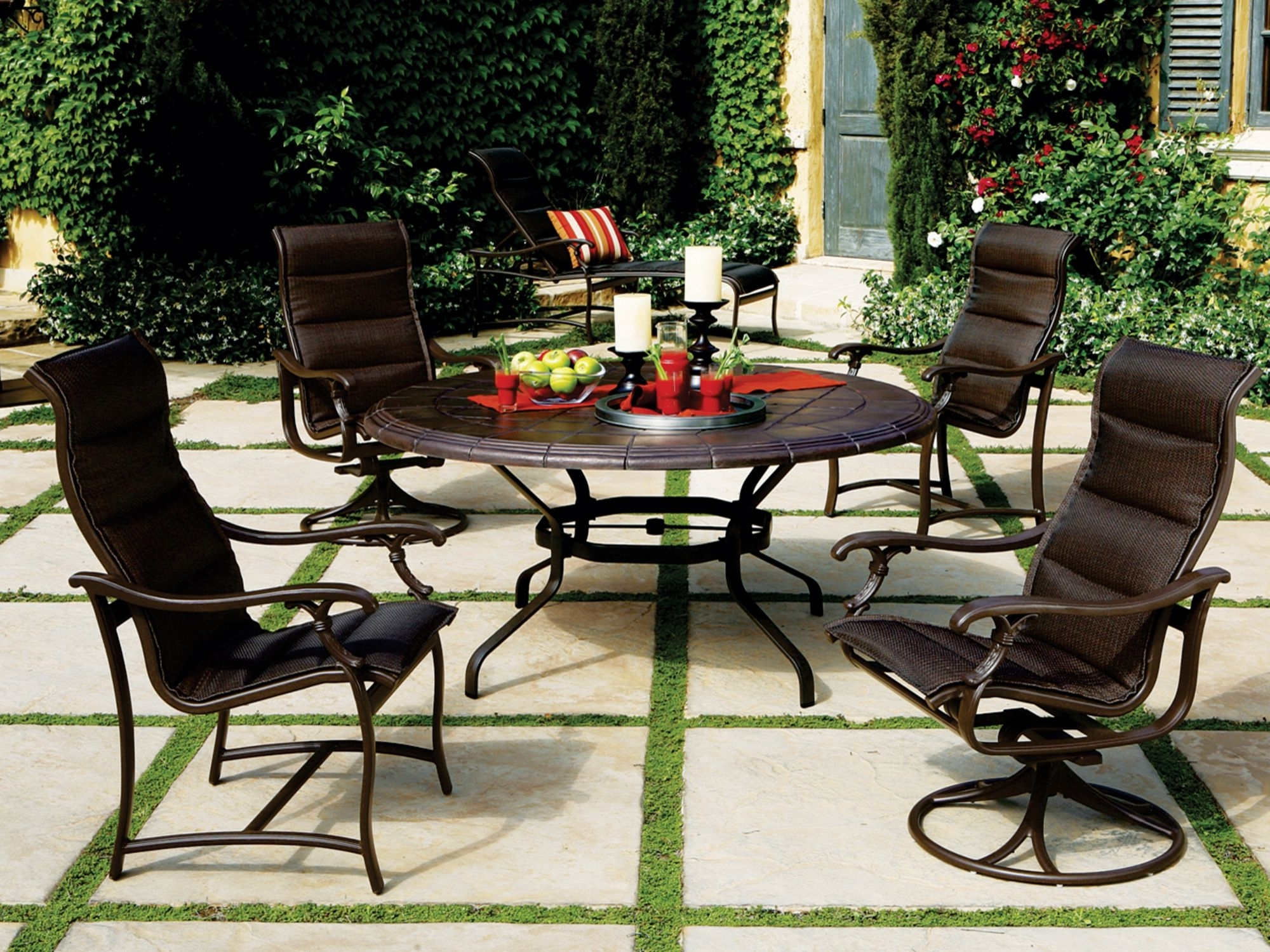 Sling Patio Conversation Sets For Most Popular Tropitone Ravello Padded Sling Aluminum Dining Set (View 11 of 20)