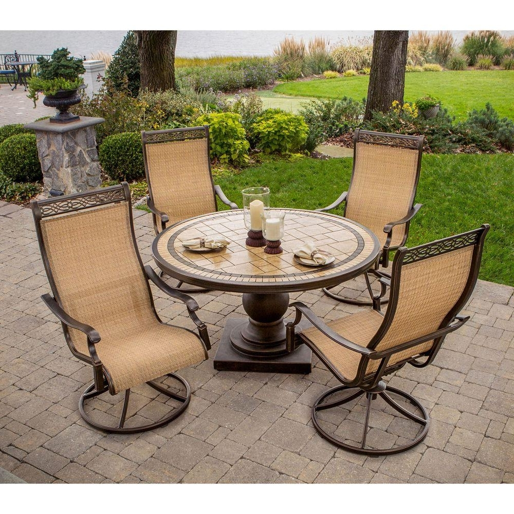 Sling Patio Conversation Sets For Widely Used Hanover Monaco 5 Piece Patio Outdoor Dining Set Monaco5pcsw – The (View 17 of 20)