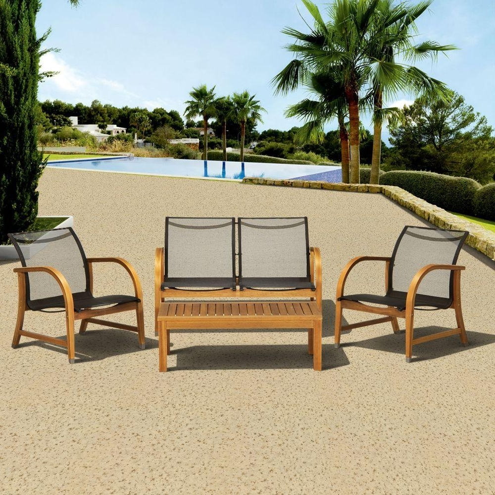 Sling Patio Conversation Sets With Current Amazonia Manhattan Eucalyptus 4 Piece Patio Deep Seating Set (View 14 of 20)