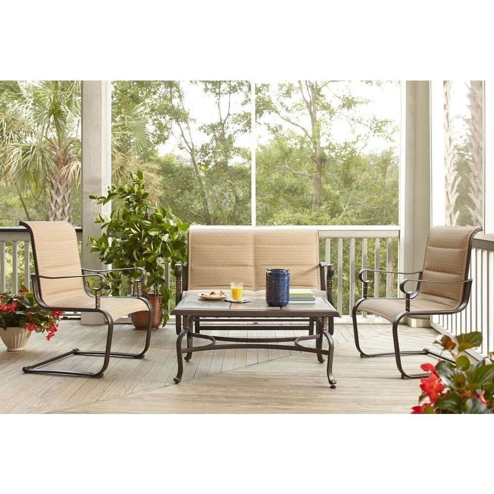 Sling Patio Conversation Sets With Latest Hampton Bay Belleville Padded Sling 4 Piece Patio Seating Set (View 8 of 20)