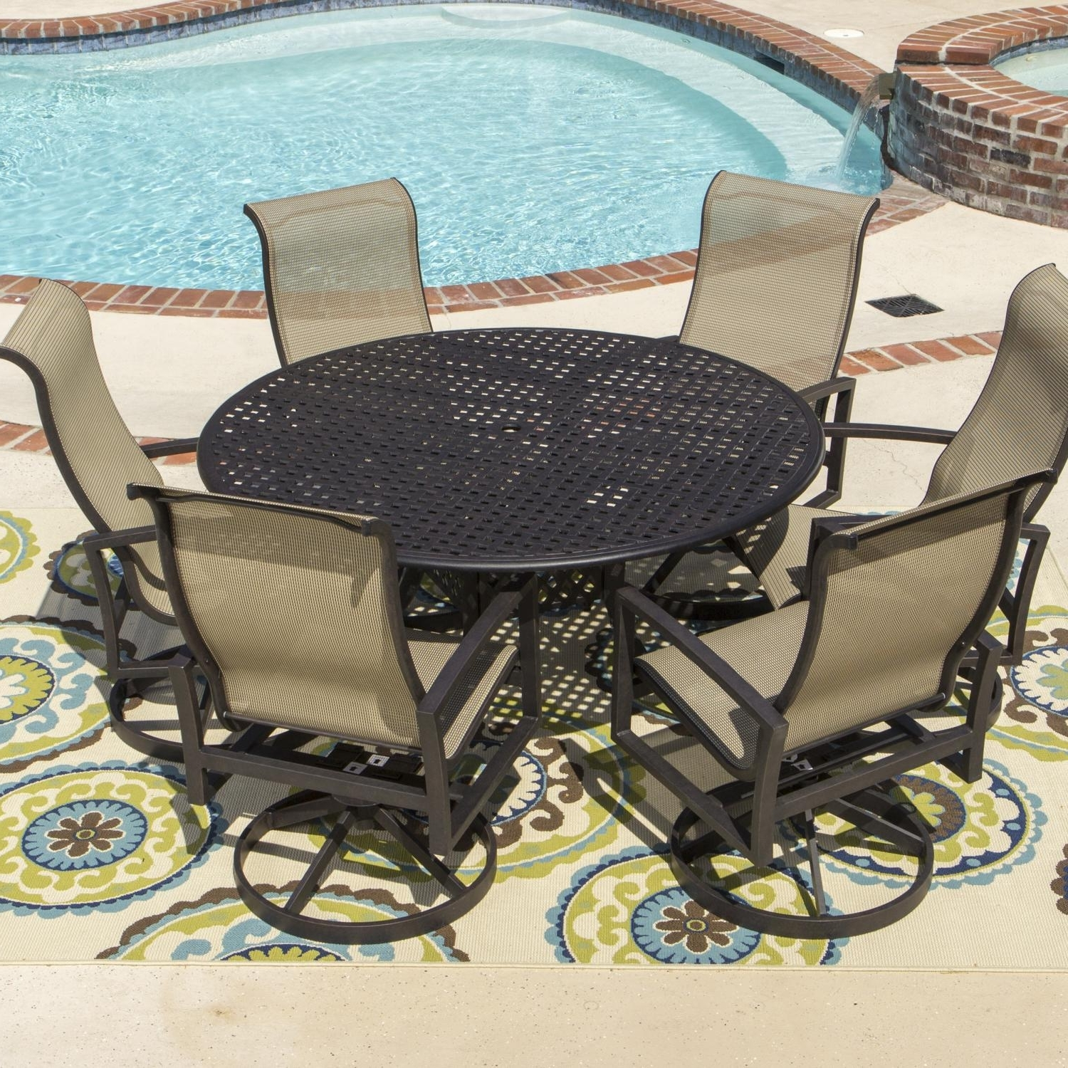 Sling Patio Conversation Sets With Regard To Well Known Acadia 7 Piece Sling Patio Dining Set With Swivel Rockers And Round (View 9 of 20)