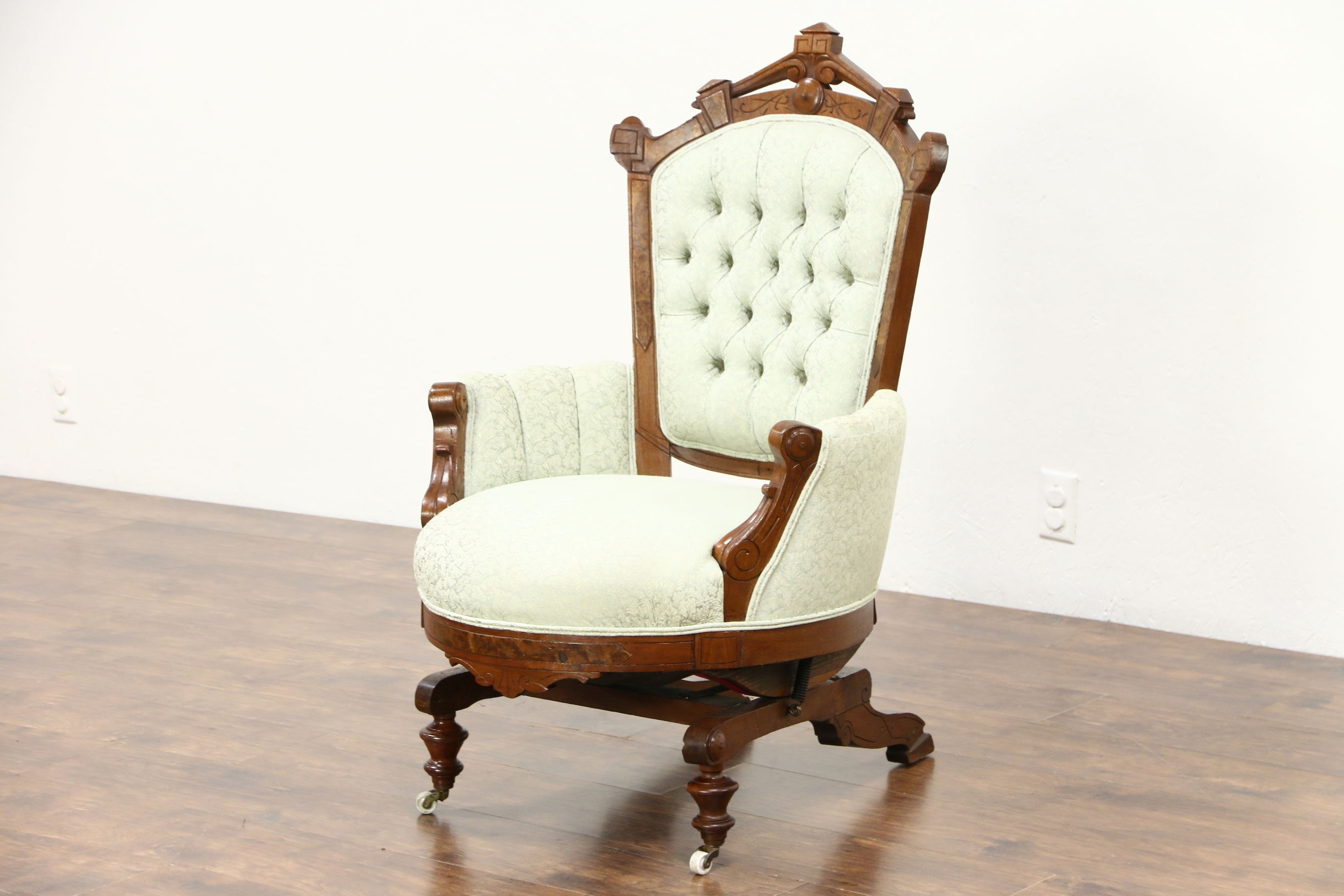 Sold – Victorian Eastlake Walnut Antique Stationary Rocker Or Pertaining To Well Liked Victorian Rocking Chairs (View 14 of 20)