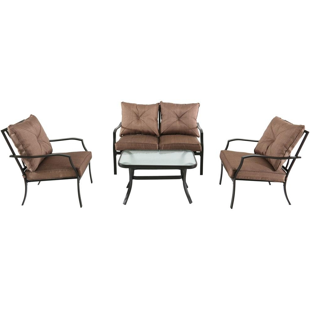 Steel Patio Conversation Sets Throughout Widely Used Hanover Palm Bay 4 Piece Steel Patio Conversation Set With Copper (View 5 of 20)