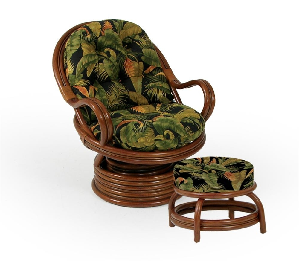 Swivel Rocker Chair And Round Ottomanpalm Springs Rattan (View 15 of 20)