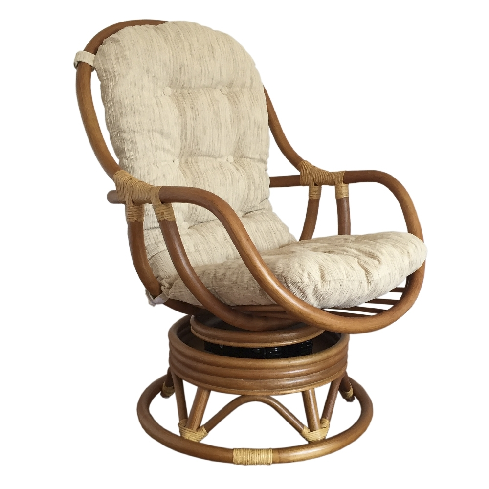 Swivel Rocking Chairs For Most Current Swivel Rocking Chair Erick Color Light Brown With Cushion (View 8 of 20)