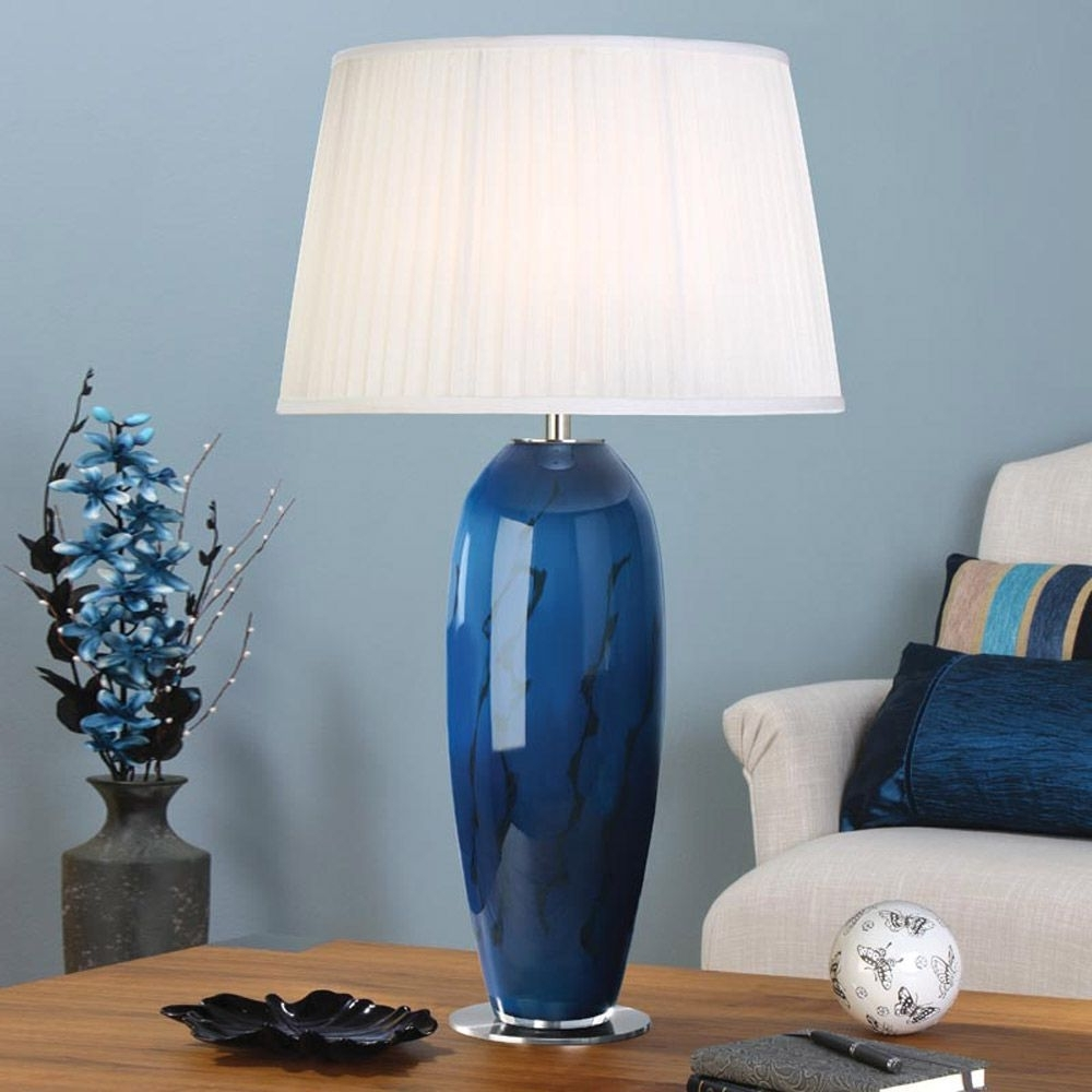 Table Lamp Charming Blue Glass Lamp: Blue Table Lamps, Blue Table Intended For Favorite Blue Living Room Table Lamps (View 16 of 20)