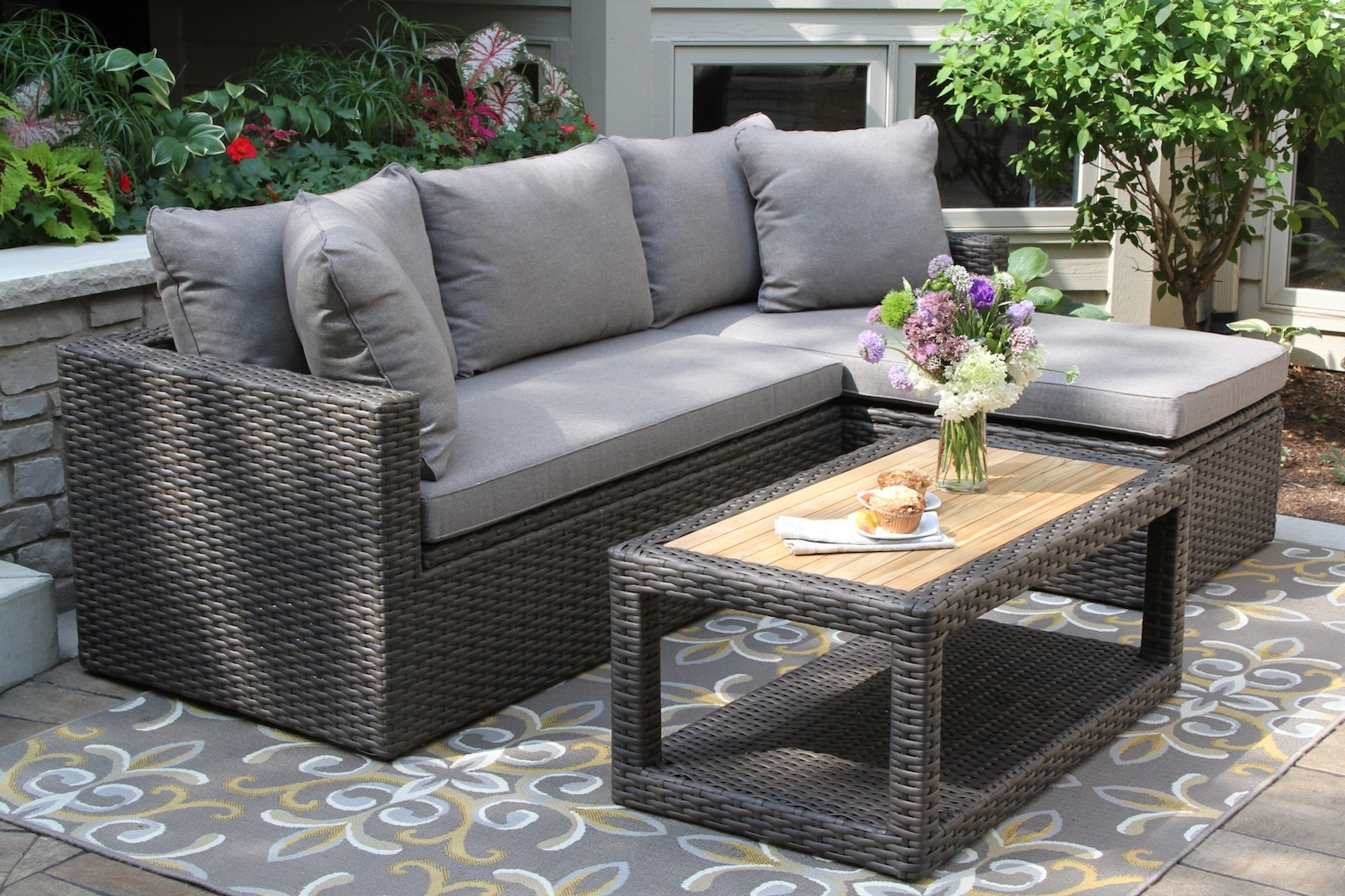 Teak And Eucalyptus Wood Outdoor Furniture, Torches, Planters Within Well Known Patio Conversation Sets With Storage (View 11 of 20)