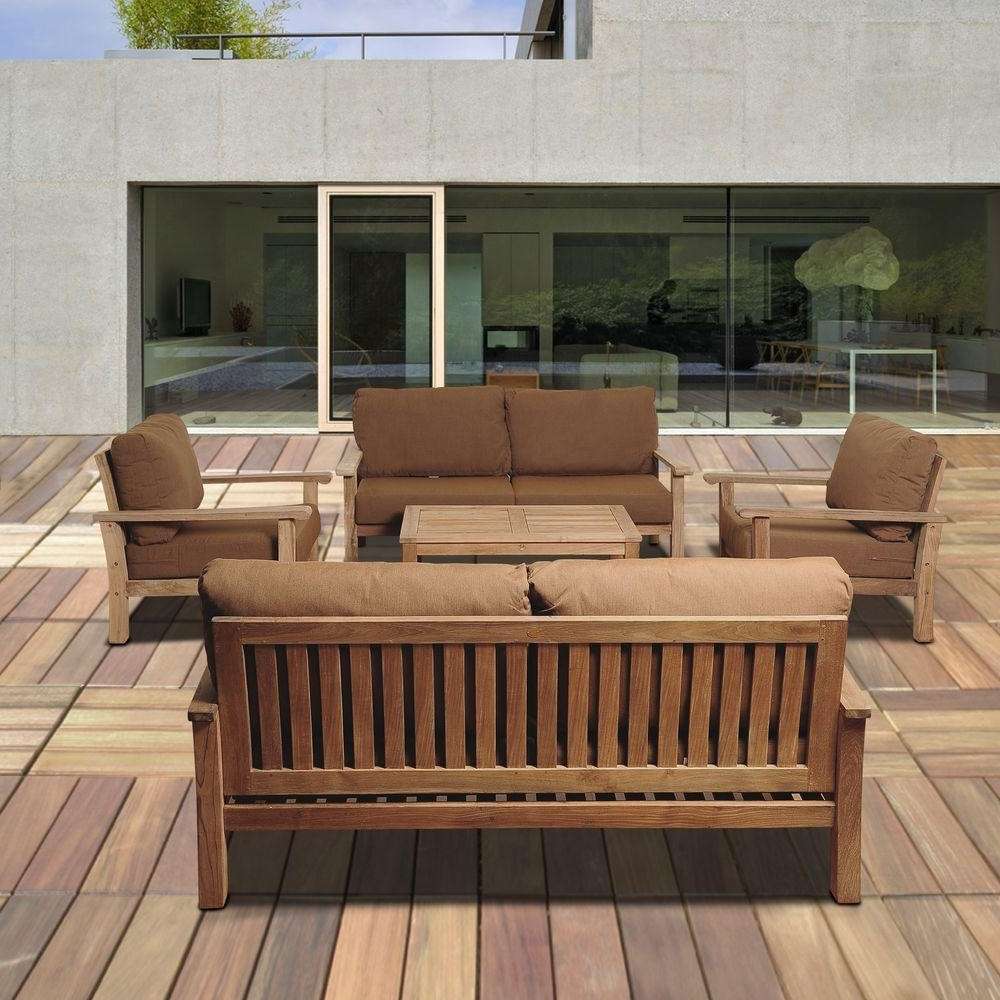 Teak Patio Conversation Sets Inside Most Popular Amazonia Todds 5 Piece Teak Patio Seating Set With Sunbrella (View 1 of 20)