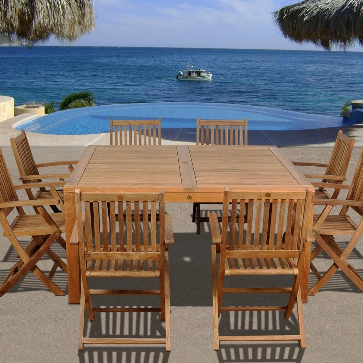 Teak Patio Conversation Sets Regarding Popular Amazonia Teak Dubai 8 Person Teak Patio Dining Set With Folding (View 12 of 20)