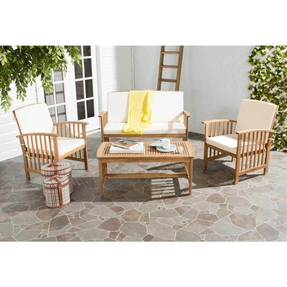 Teak Patio Conversation Sets With Regard To Well Known Safavieh Rocklin Teak Look 4 Piece Patio Conversation Set With Beige (View 3 of 20)