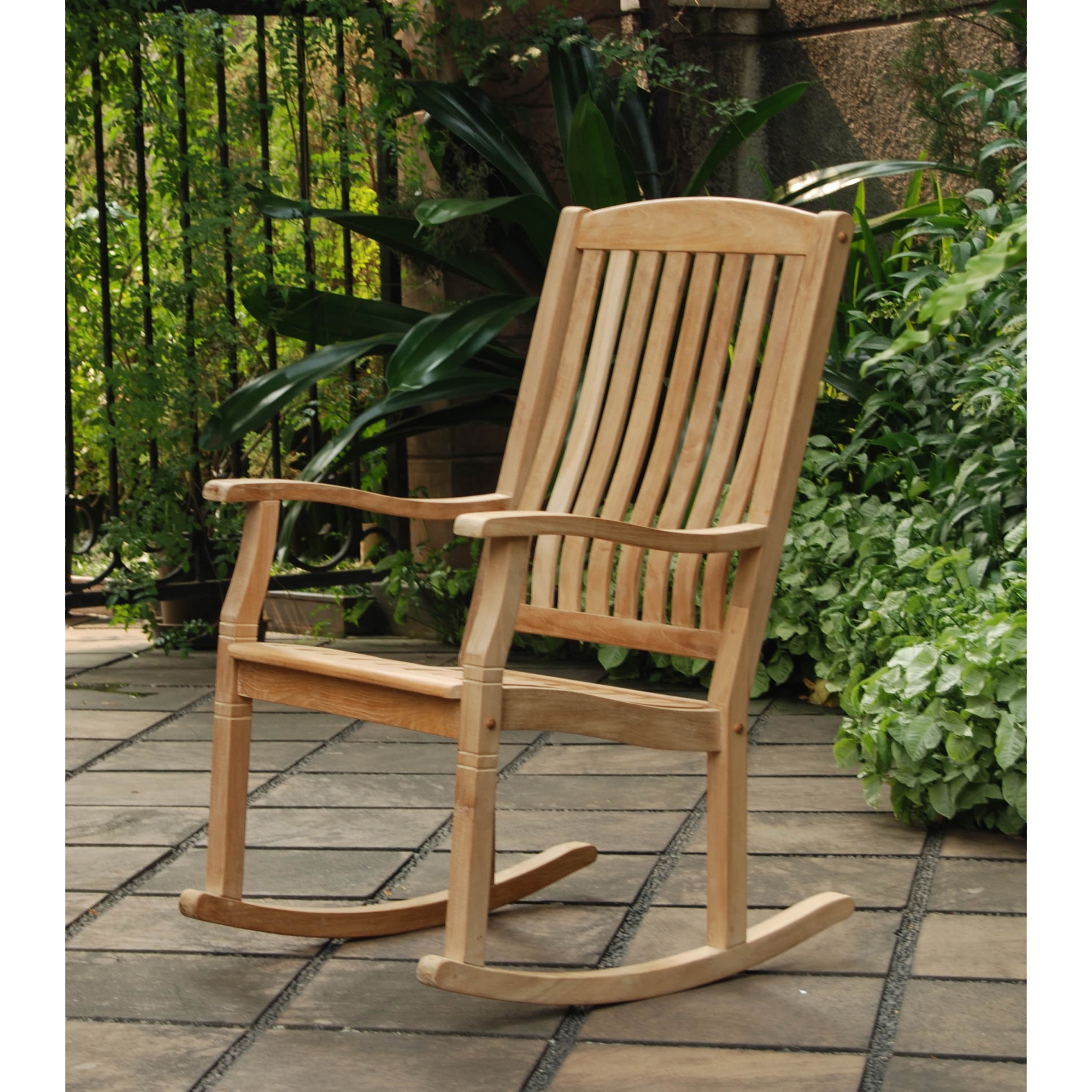Teak Patio Rocking Chairs In Fashionable Shop Cambridge Casual Sherwood Natural Teak Porch Rocking Chair (View 8 of 20)