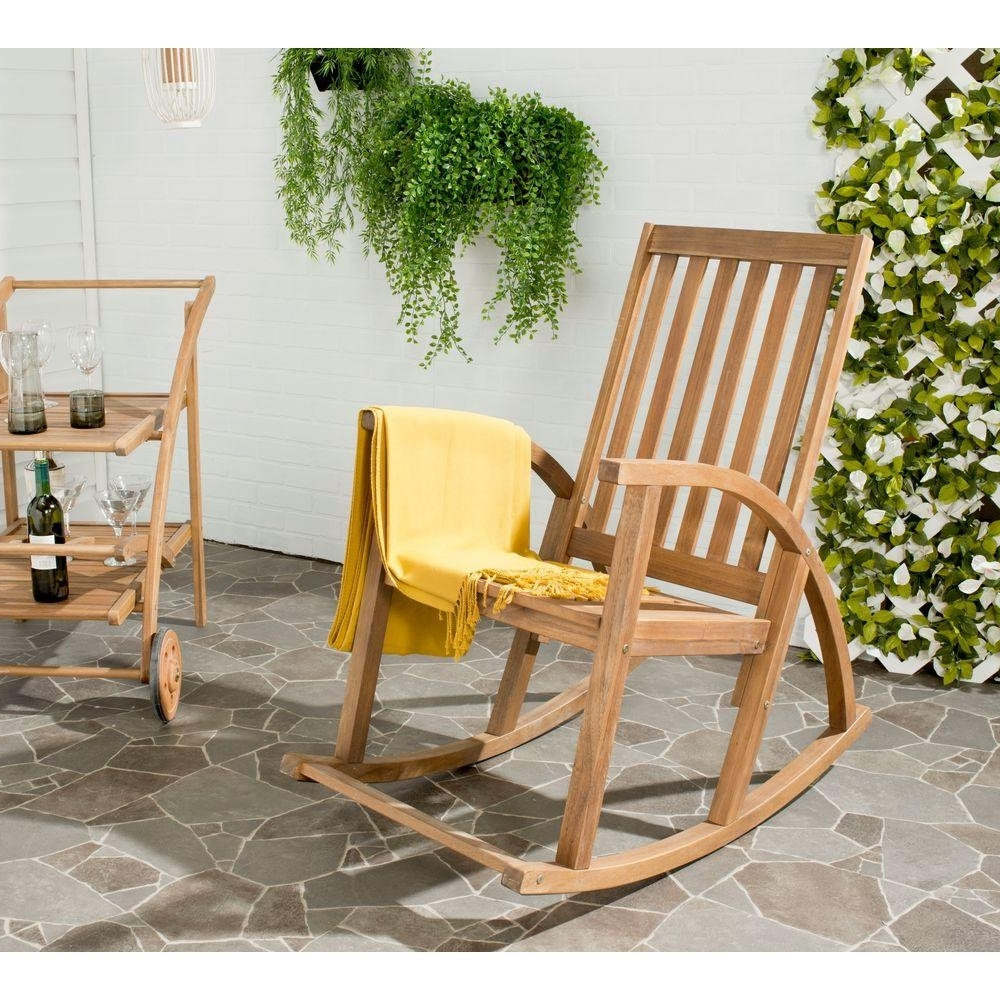 Teak Patio Rocking Chairs Within Popular Safavieh Clayton Teak Wood Outdoor Rocking Chair Pat7003A – The Home (View 17 of 20)