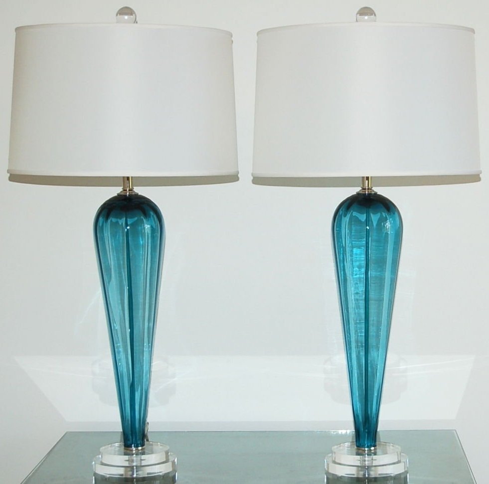 Teal Living Room Table Lamps With Regard To Most Recent Lamp : Blue Table Lamps Lamp Shades Base Set Of For Living Room (View 12 of 20)