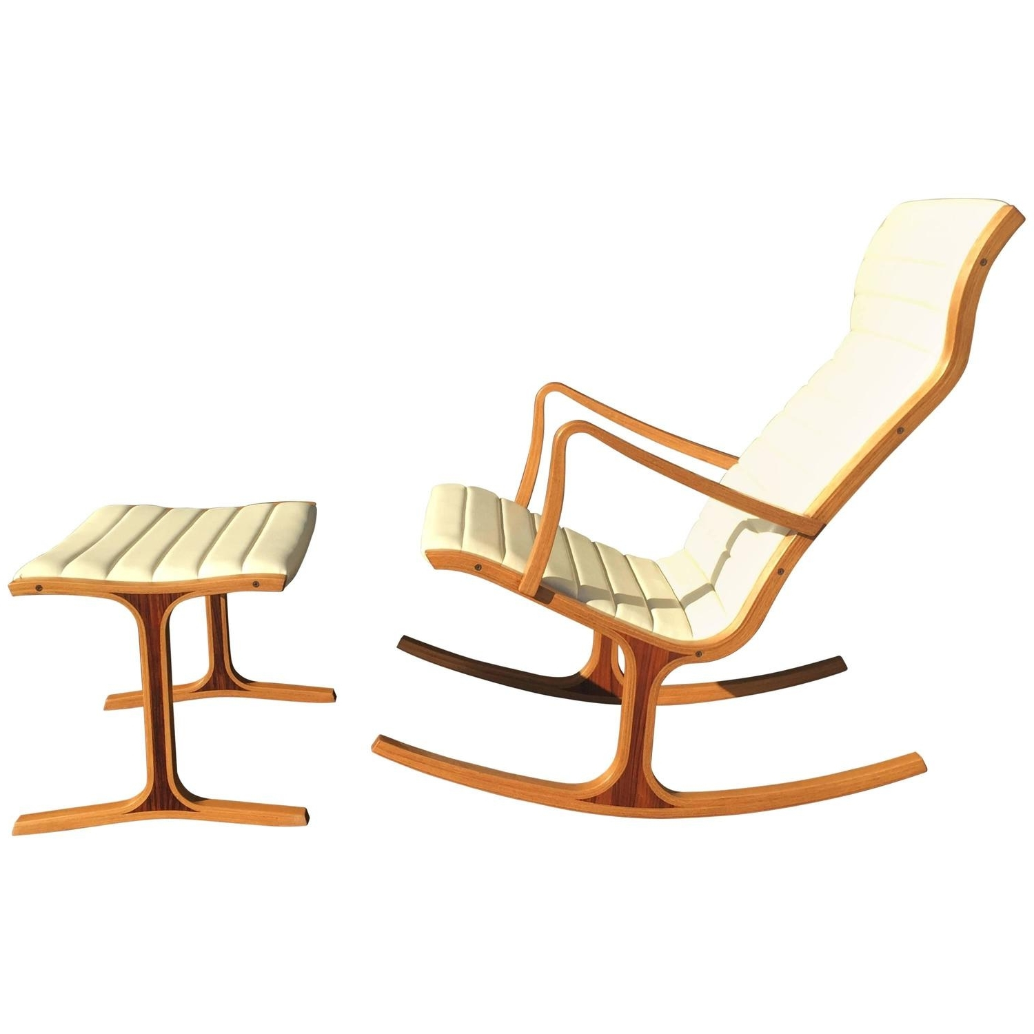 Tendo Mokko Heron Rocking Chair And Footrest For Kosuga Japan At 1stdibs In Trendy Rocking Chairs With Footrest (View 4 of 20)