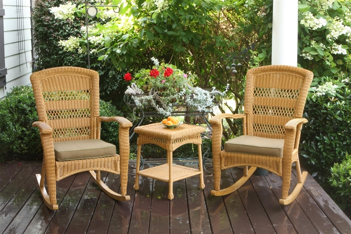 Tortuga Outdoor Portside Plantation 3Pc Rocking Chair Set Pertaining To Trendy Patio Rocking Chairs And Table (View 17 of 20)