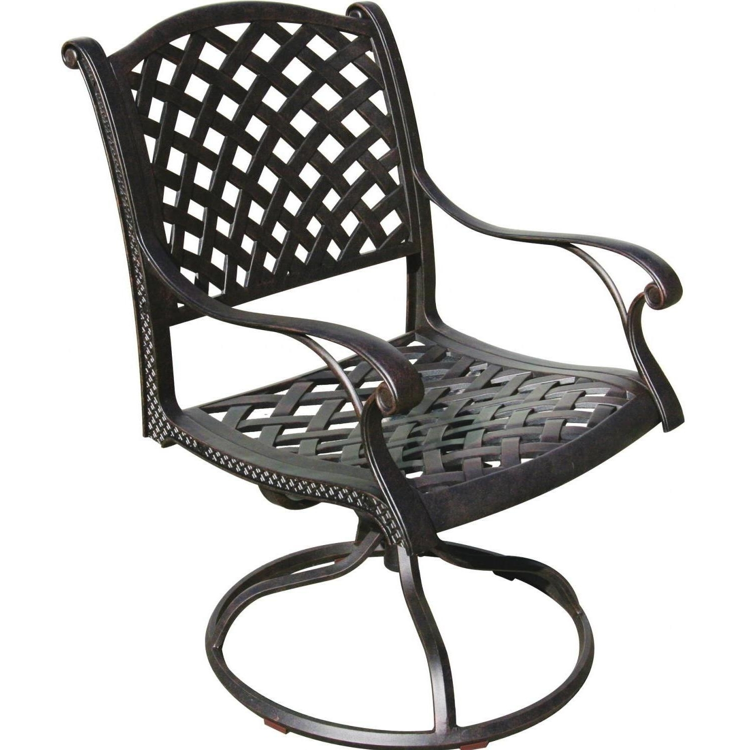 Trendy Darlee Nassau Cast Aluminum Patio Swivel Rocker Dining Chair For Patio Rocking Swivel Chairs (View 3 of 20)