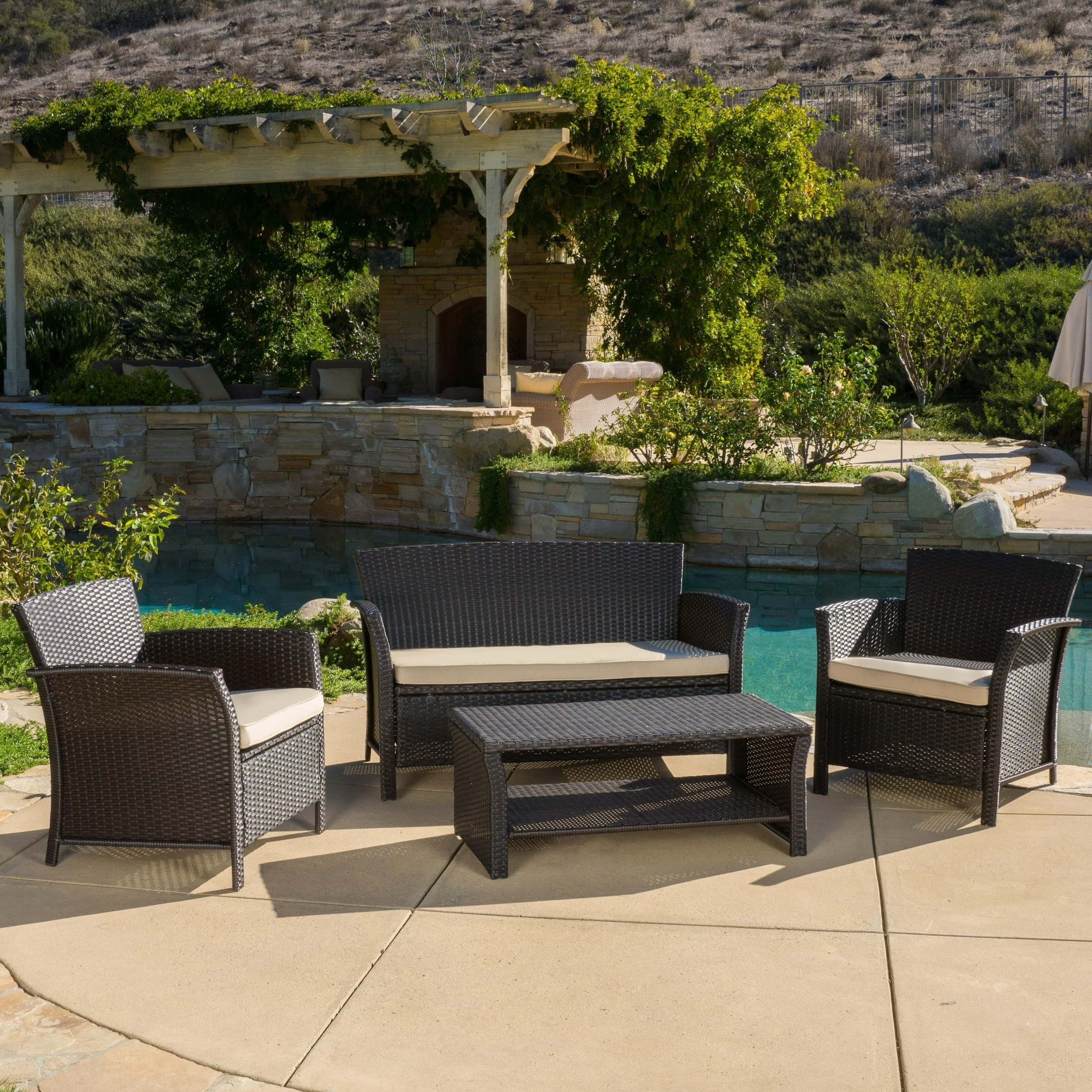 Trendy Dot Patio Conversation Sets Within Shop Santa Lucia Outdoor 4 Piece Brown Wicker Conversation Set With (View 18 of 20)