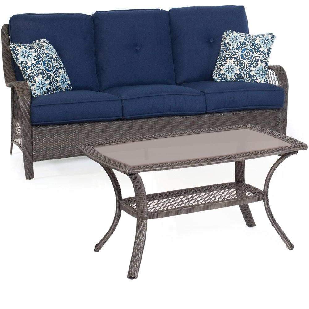 Trendy Hanover Orleans Grey 2 Piece All Weather Wicker Patio Conversation Within Patio Conversation Sets With Blue Cushions (View 19 of 20)