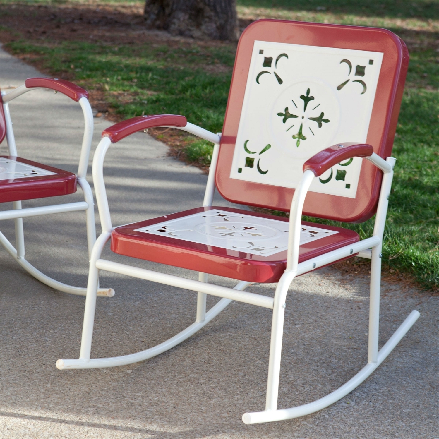 Trendy Outdoor Patio Metal Rocking Chairs Inside Cherry Red Retro Patio 3 Pc (View 8 of 20)