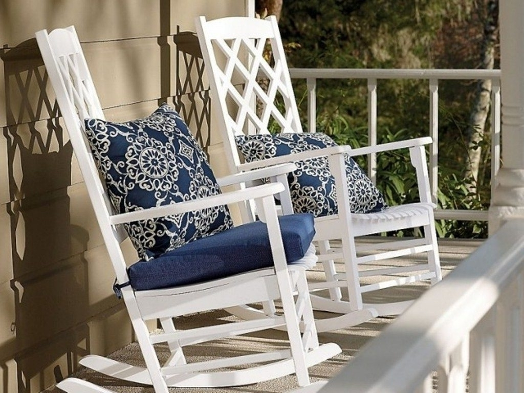 Trendy Outdoor Rocking Chairs With Cushions Pertaining To Outdoor Rocking Chair Cushions Blue : Beautiful Outdoor Rocking (View 4 of 20)
