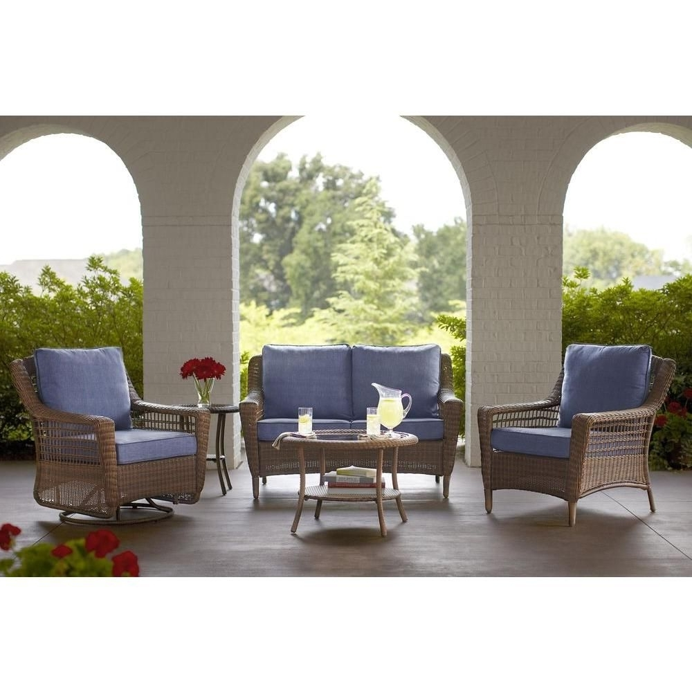 Trendy Patio Conversation Sets At Home Depot Pertaining To Hampton Bay Spring Haven Brown All Weather Wicker Outdoor Patio (View 17 of 20)