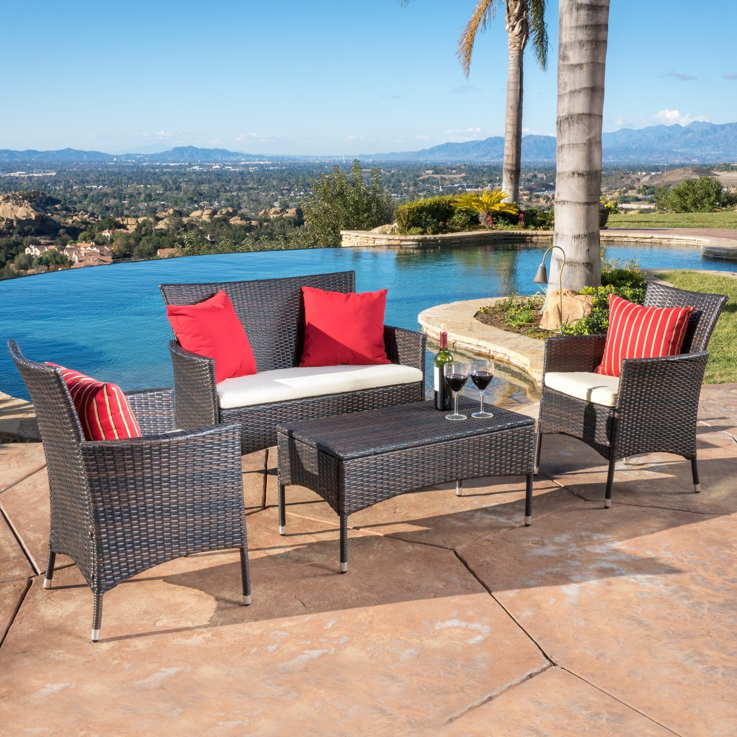 Trendy Patio Conversation Sets Under 200 Regarding Shop Malta Outdoor 4 Piece Wicker Chat Set With Cushions (View 20 of 20)