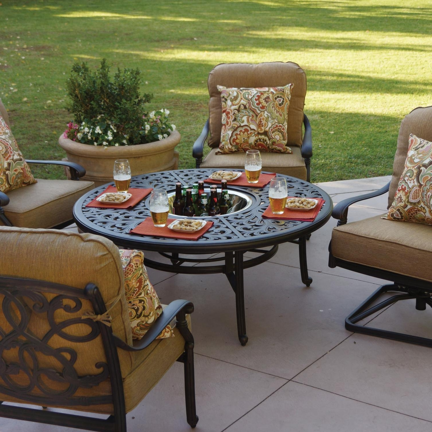 Trendy Patio Conversation Sets With Fire Pit Inside Darlee Santa Monica 5 Piece Patio Fire Pit Set (View 17 of 20)