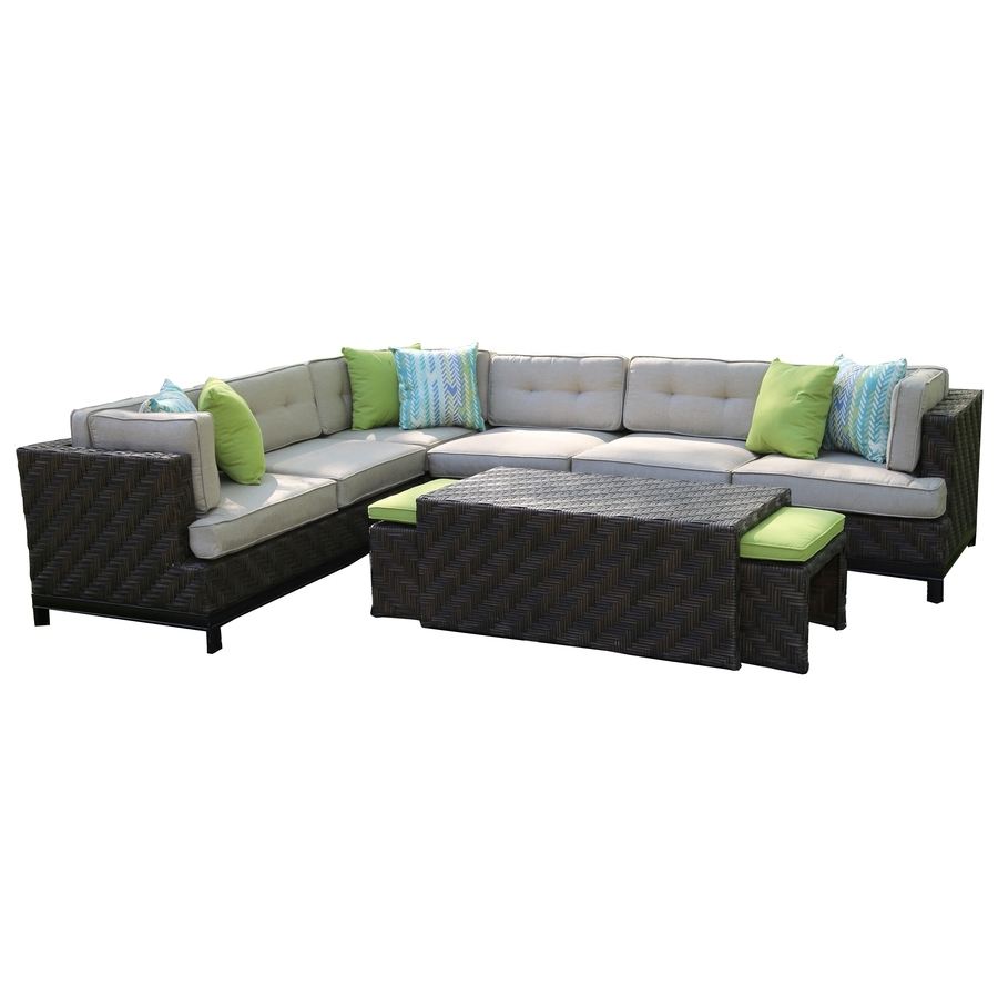 Trendy Shop Ae Outdoor Canyon 7 Piece Resin Frame Patio Conversation Set Within Sunbrella Patio Conversation Sets (View 17 of 20)