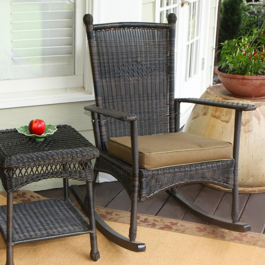 Trendy Shop Tortuga Outdoor Portside Wicker Rocking Chair With Khaki Within Resin Wicker Rocking Chairs (View 17 of 20)